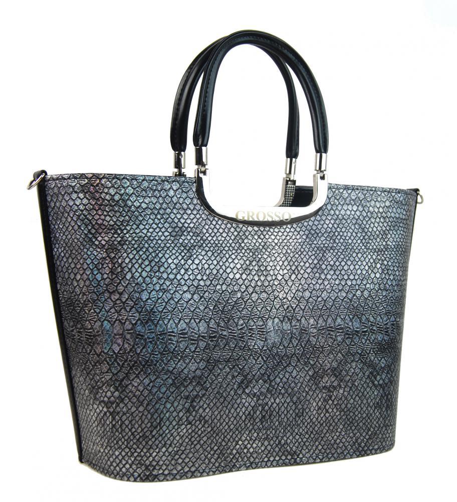Elegantní hadí stříbrno-černá míhaná kabelka do ruky S7 GROSSO