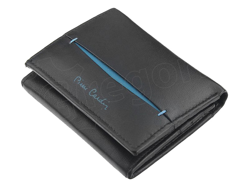 Pierre Cardin černo-modrá pánská kožená peněženka v krabičce