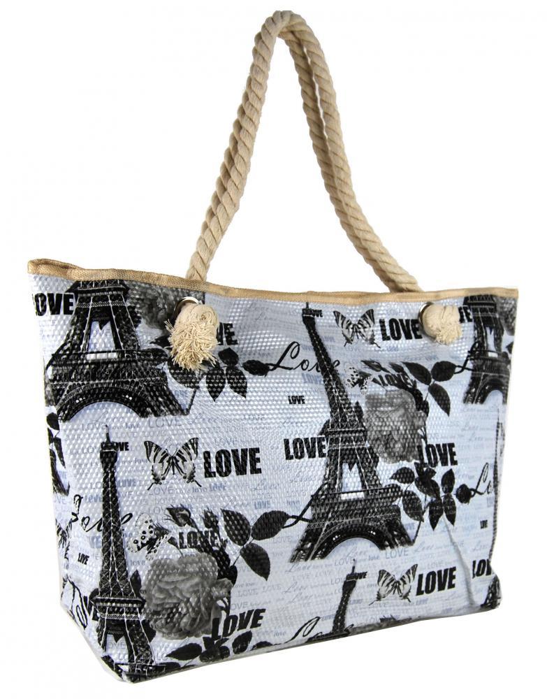 Černo-bílá lehká plážová taška na rameno H5