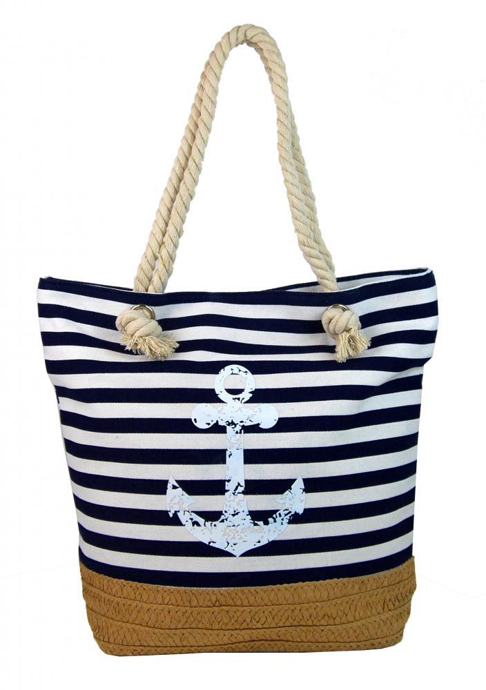 Černo-bílá lehká plážová taška s kotvou 068-1