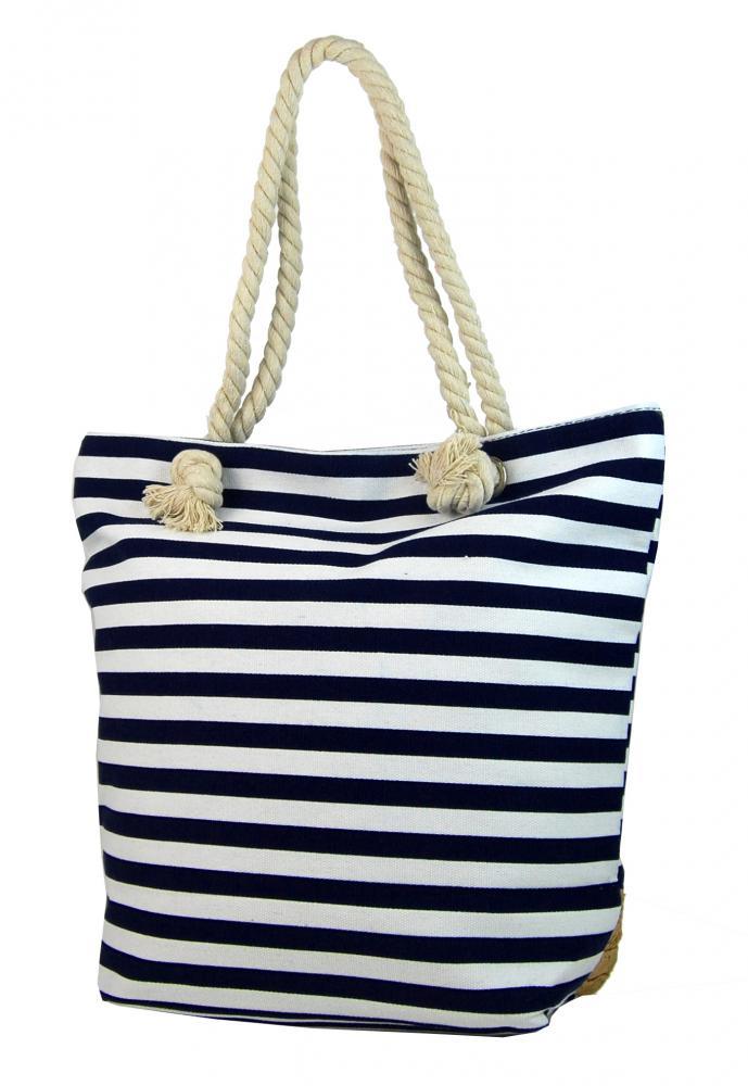 Čierno-biela ľahká plážová taška s kotvou 068-1