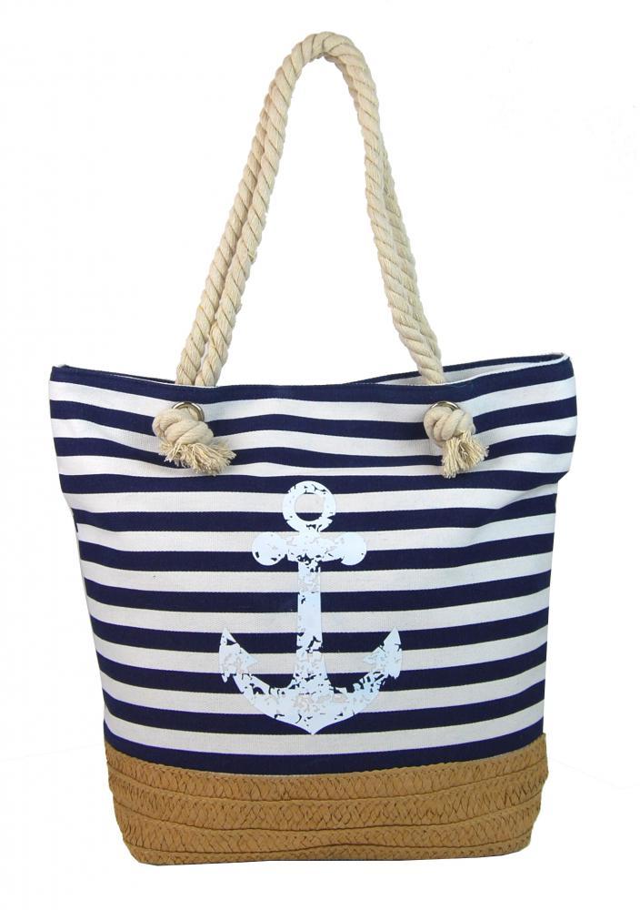 Modro-biela ľahká plážová taška s kotvou 068-2