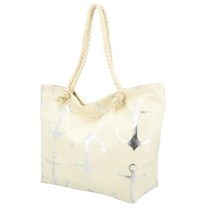 Veľká moderná plážová taška biela 21506