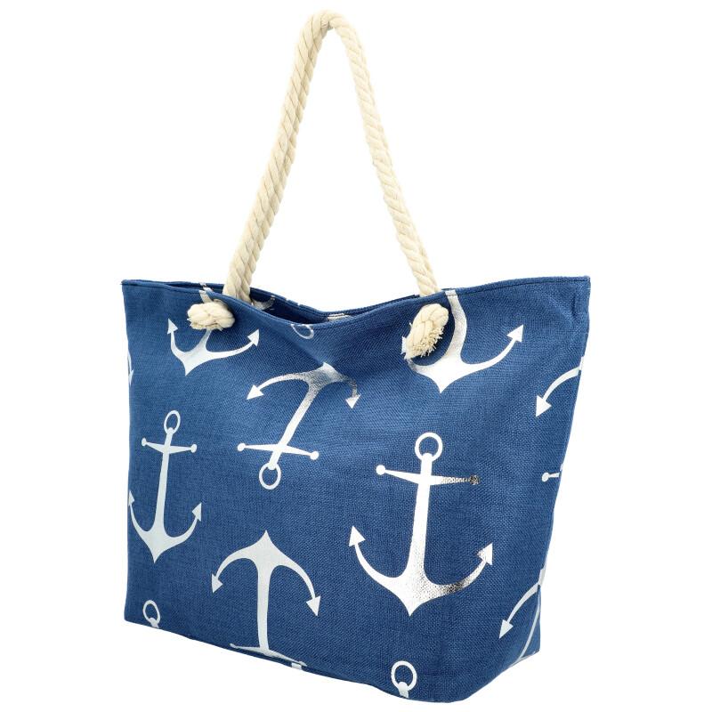 Veľká moderná plážová taška tmavo modrá 21506