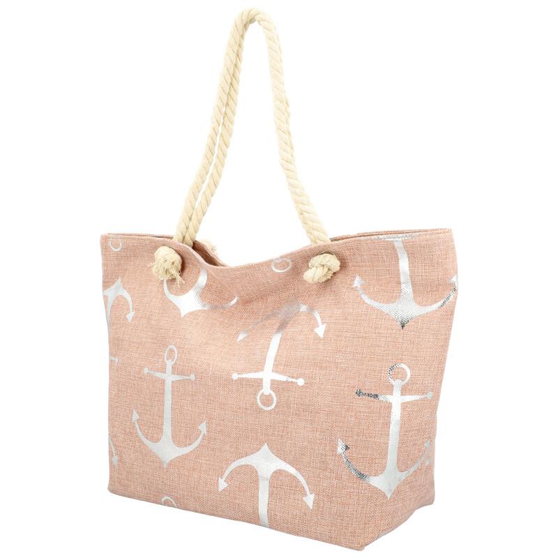 Veľká moderná plážová taška ružová 21506