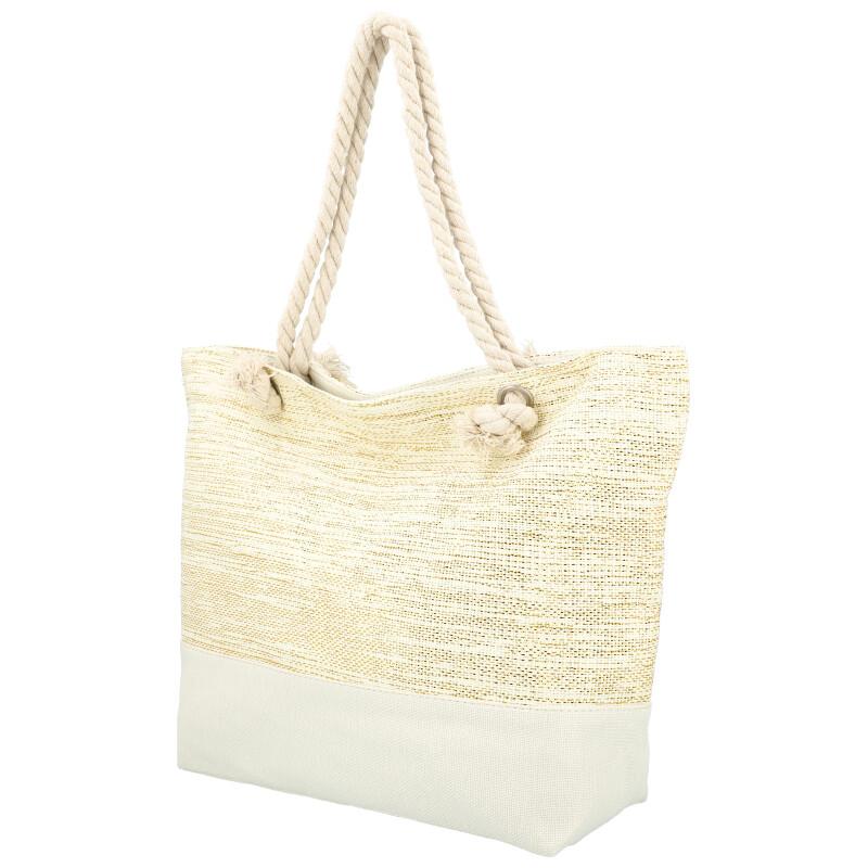 Velká moderní plážová taška krémová 406A