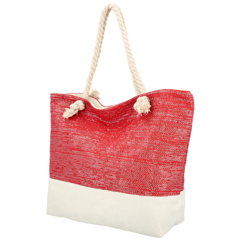 Veľká moderná plážová taška červená 406A