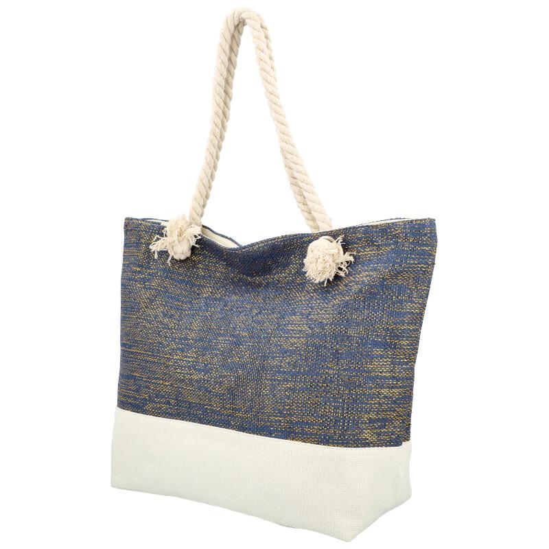 Velká moderní plážová taška tmavě modrá 406A