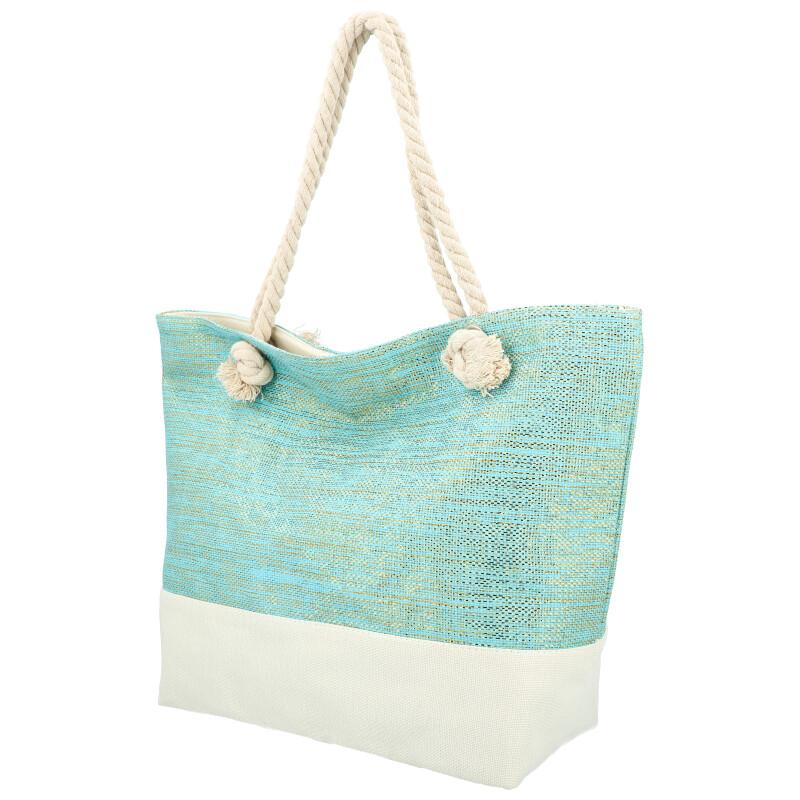 Velká moderní plážová taška tyrkysově modrá 406A