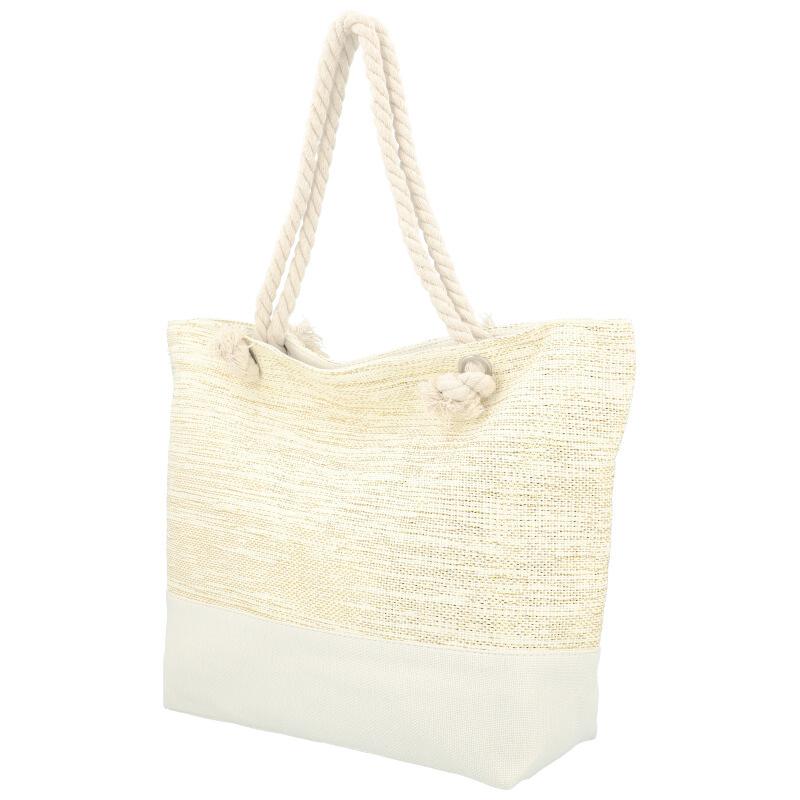 Veľká moderná plážová taška biela 406A
