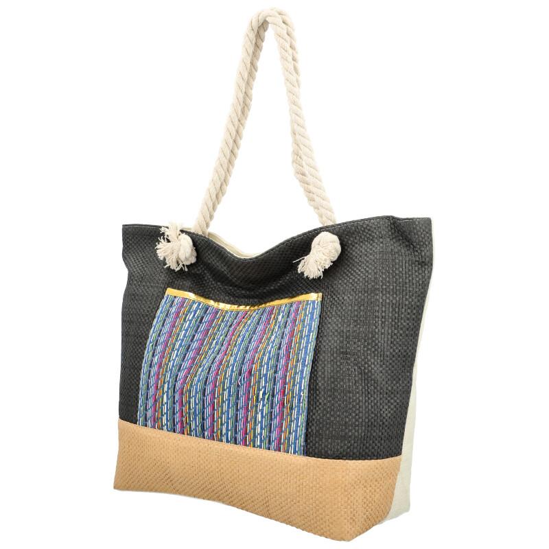 Velká moderní plážová taška s čelní kapsou černá 410