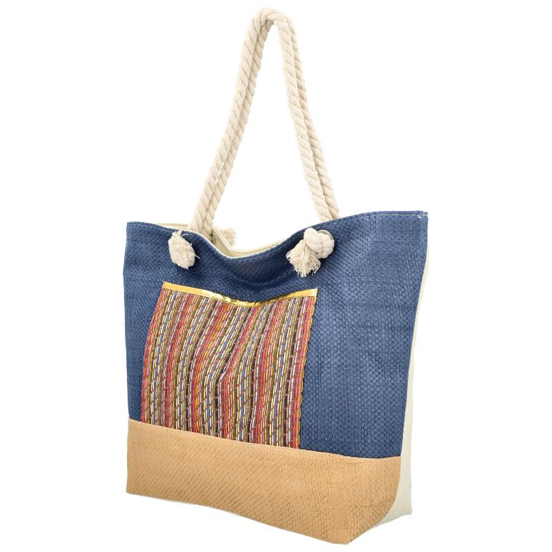 Velká moderní plážová taška s čelní kapsou modrá 410
