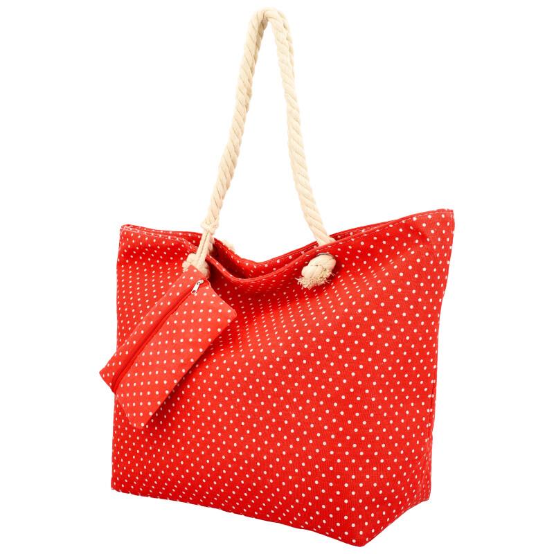 Veľká moderná plážová taška červená BS762