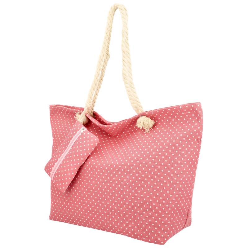 Veľká moderná plážová taška ružová BS762