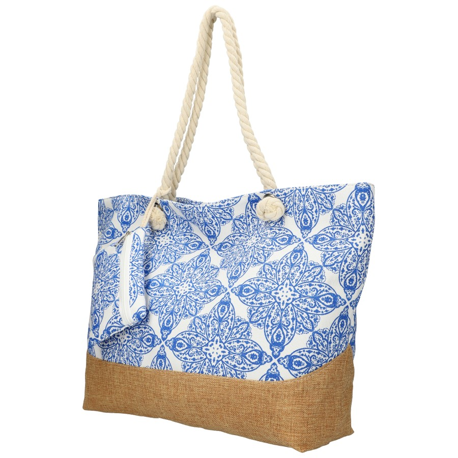 Veľká modro-biela plážová taška cez rameno B6802