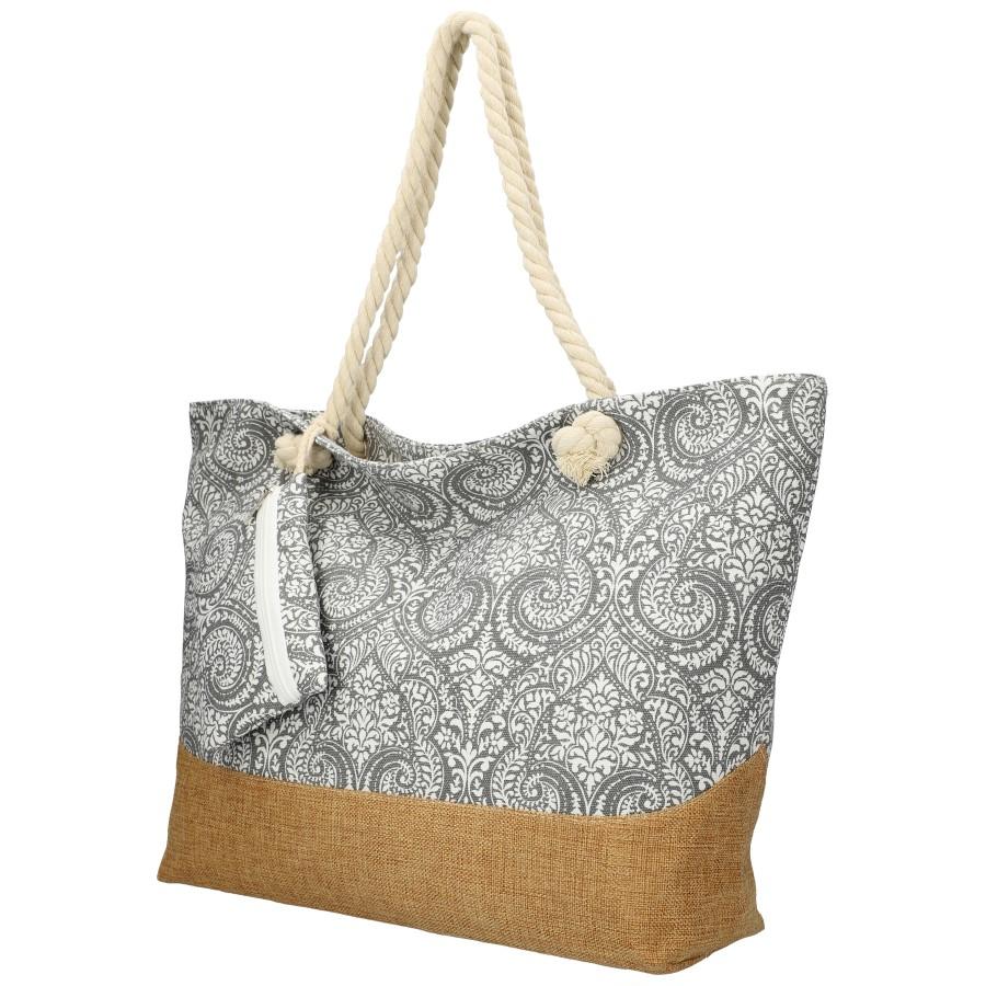 Veľká sivá plážová taška cez rameno B6802