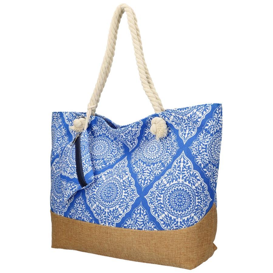 Velká modrá plážová taška přes rameno B6802-4