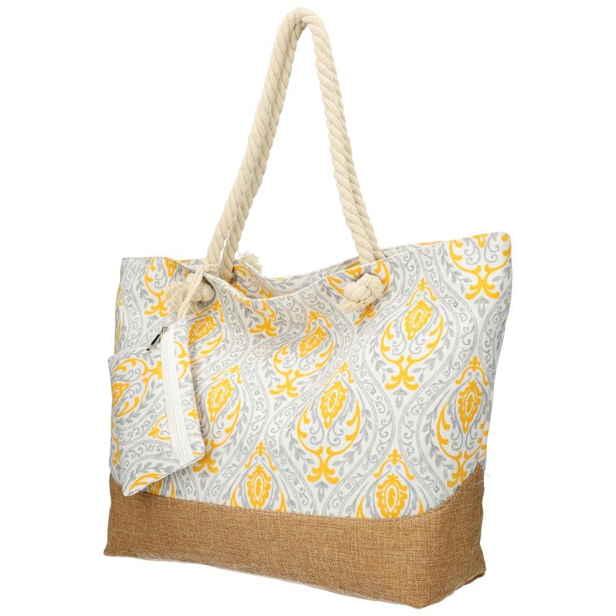 Velká šedo-žlutá plážová taška přes rameno B6802-5