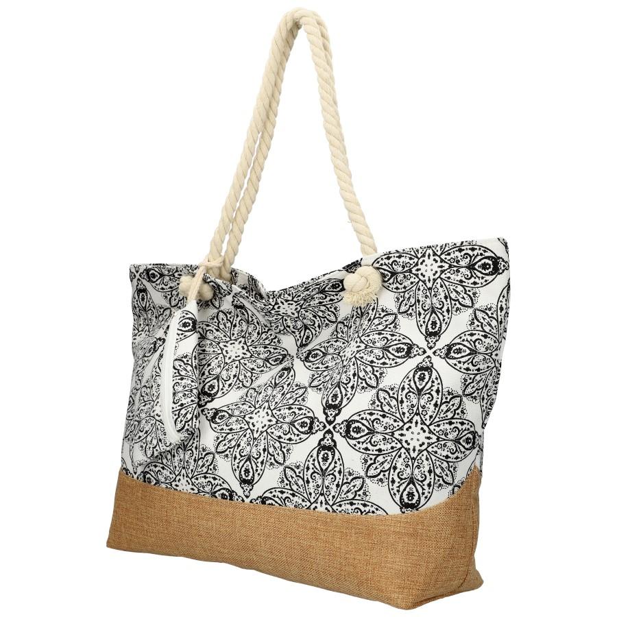 Velká černo-bílá plážová taška přes rameno B6802-6