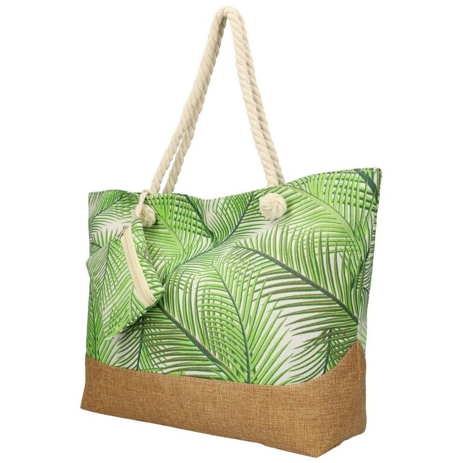 Veľká plážová taška so zelenými lístkami B6804