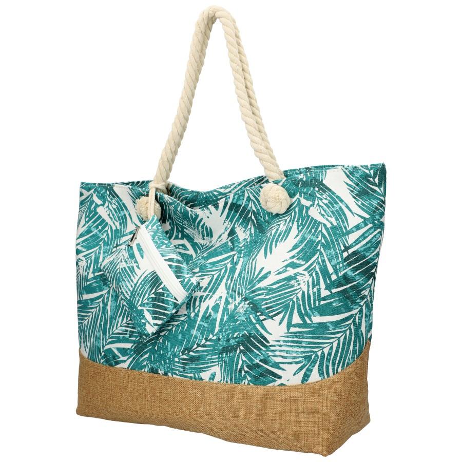 Veľká plážová taška s tyrkysovými lístkami B6804