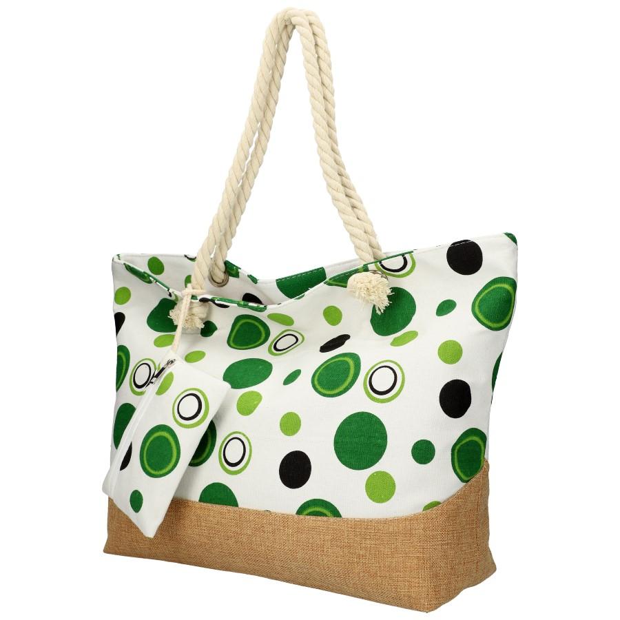 Veľká plážová taška cez rameno v retro štýle zelená B6805