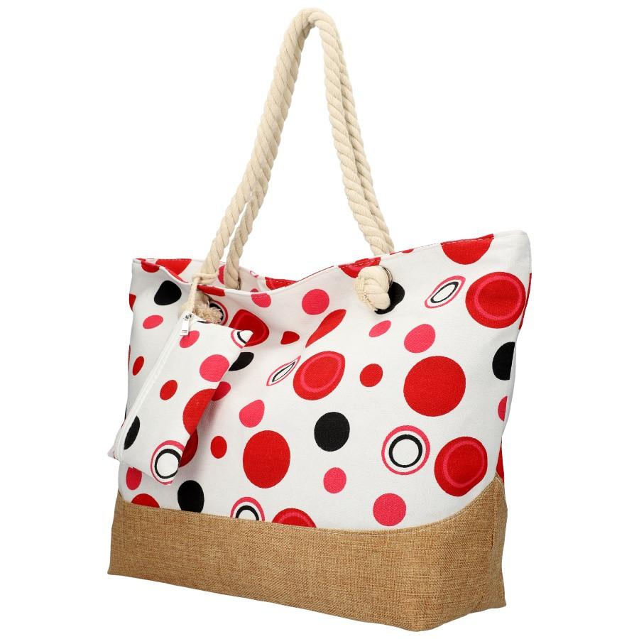 Veľká plážová taška cez rameno v retro štýle červená B6805