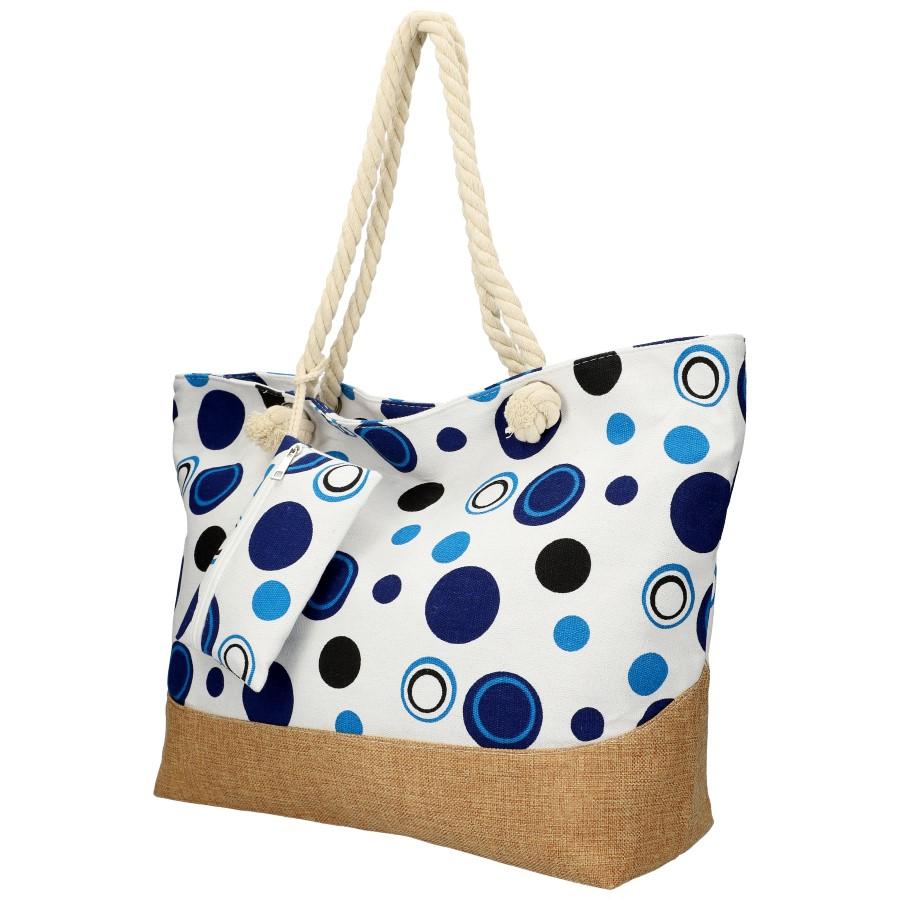 Veľká plážová taška cez rameno v retro štýle modrá B6805
