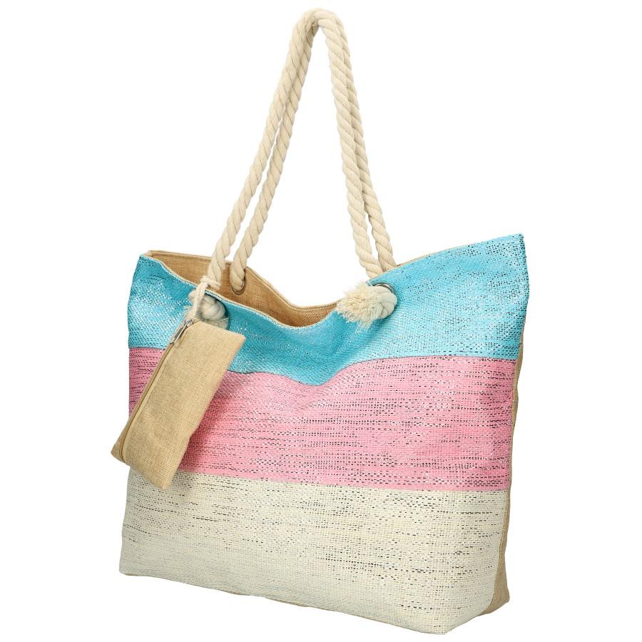 Veľká plážová taška modro-ružovo-krémová so striebornou niťou B6806