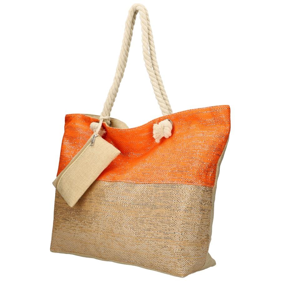 Veľká plážová taška oranžovo-zlatá so zlatou niťou B6806