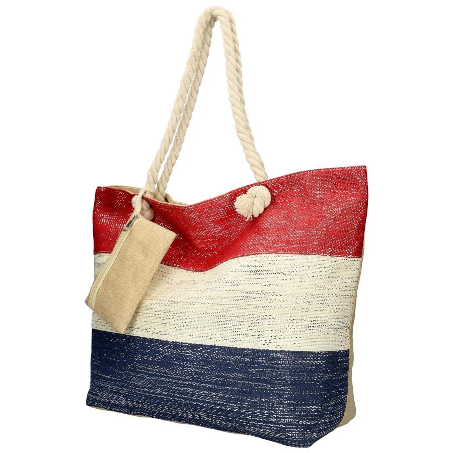 Veľká plážová taška červeno-krémovo-modrá so striebornou niťou B6806