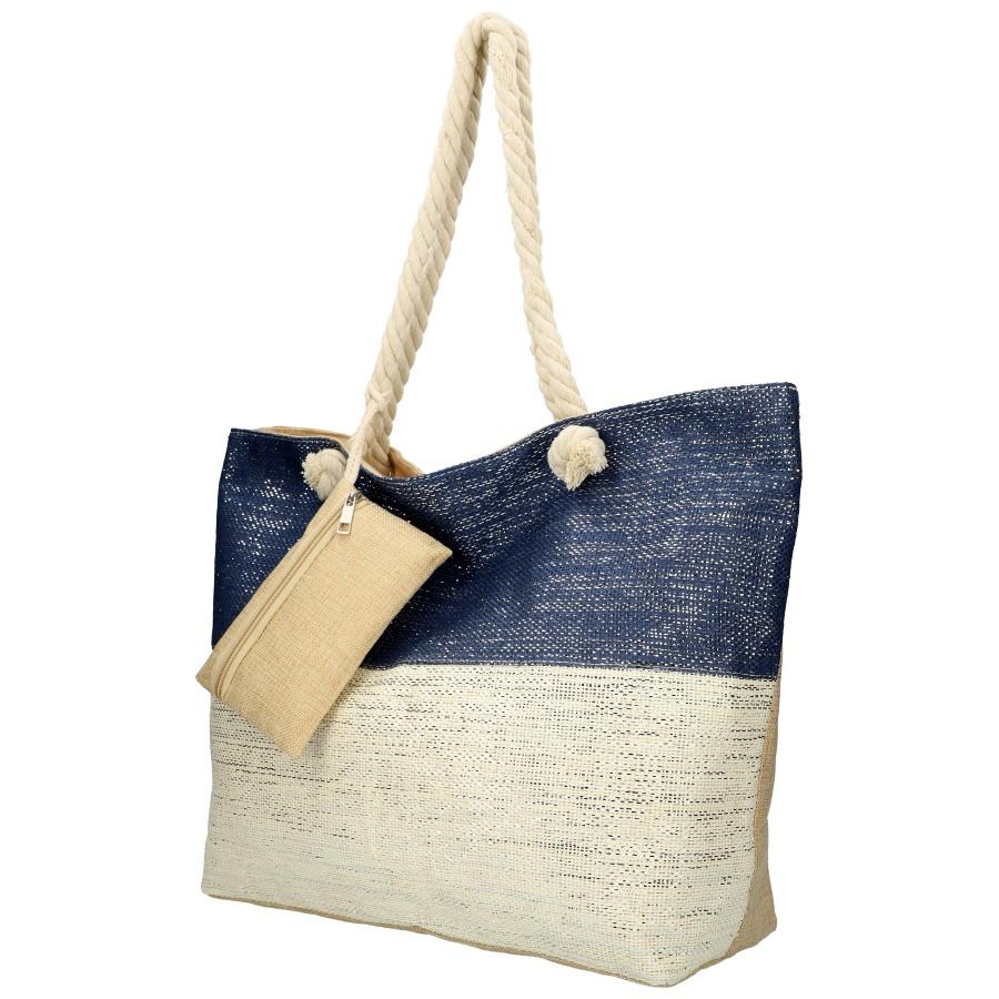 Veľká plážová taška modro-krémová so striebornou niťou B6806