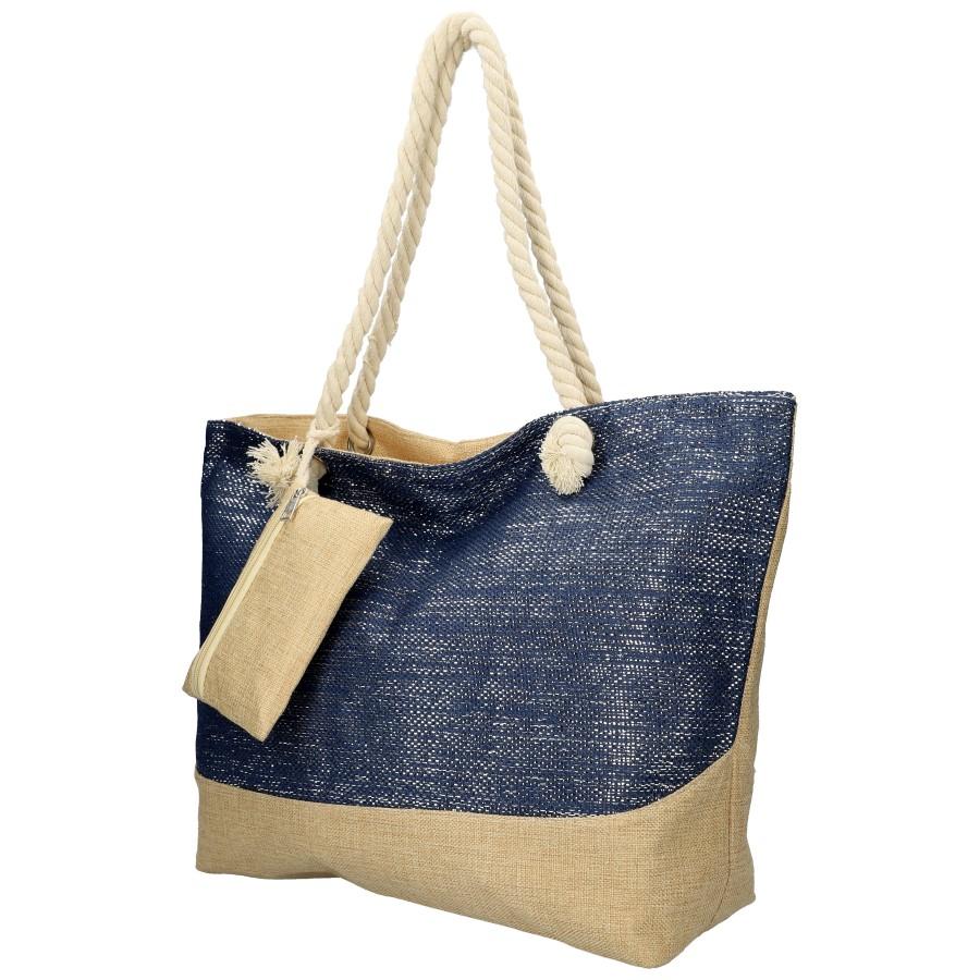 Veľká plážová taška modrá so striebornou niťou B6806