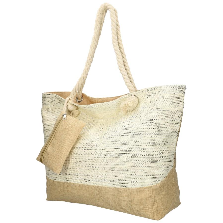 Velká plážová taška krémová se stříbrnou nití B6806