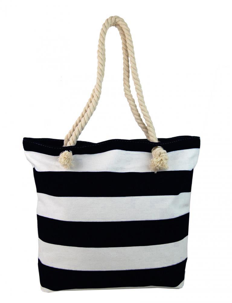 Černo-bílá lehká plážová taška přes rameno FB-01