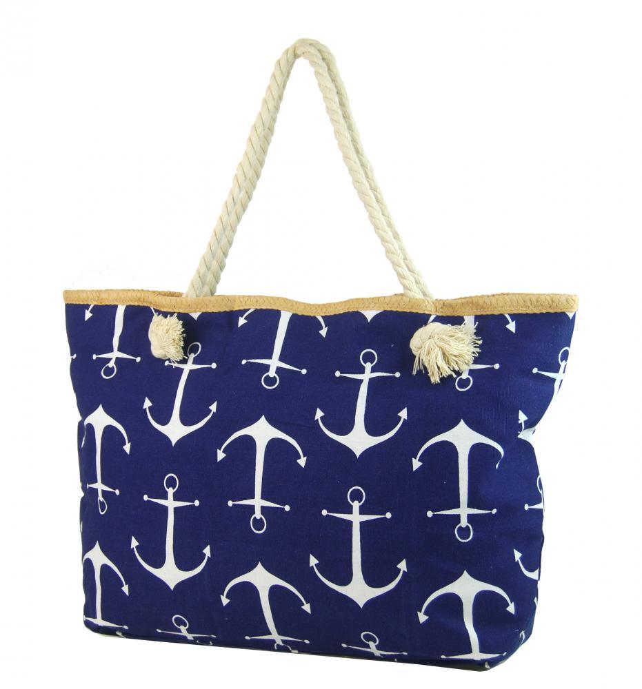Veľká tmavo modrá ľahká plážová taška cez rameno H-106-2