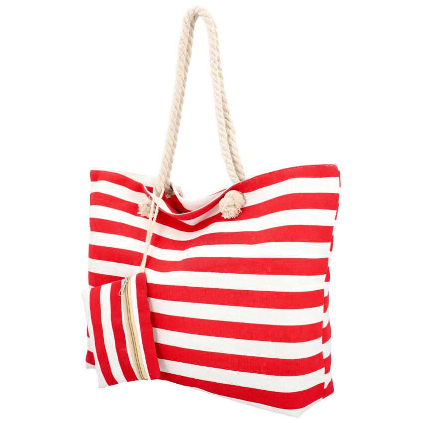 Veľká plážová taška cez rameno v námorníckom štýle červená HC70-1