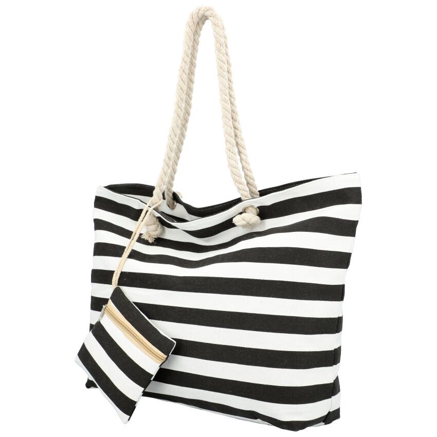 Velká plážová taška přes rameno v námořnickém stylu černá HC70-1