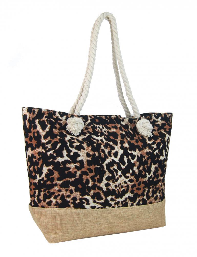 Letná ľahká plážová taška hnedo-čierna s leopardím vzorom XP-B