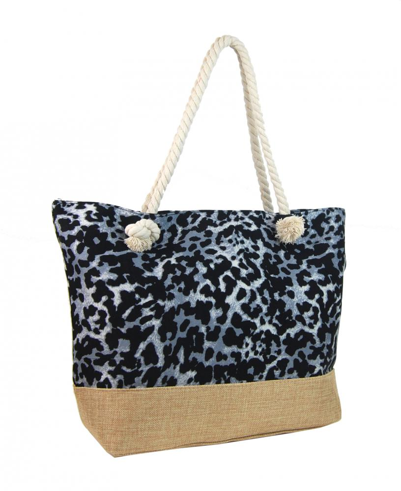 Letní lehká plážová taška šedo-černá s leopardím vzorem XP-B