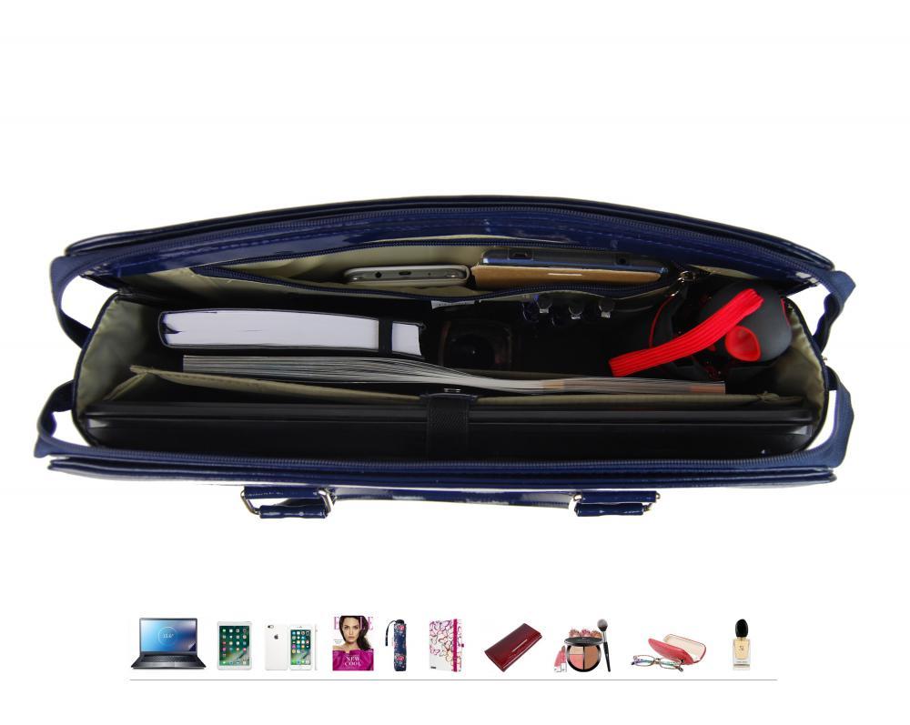 PUNCE LC-01 tmavo modrá dámska kabelka pre notebook do 15.6 palca