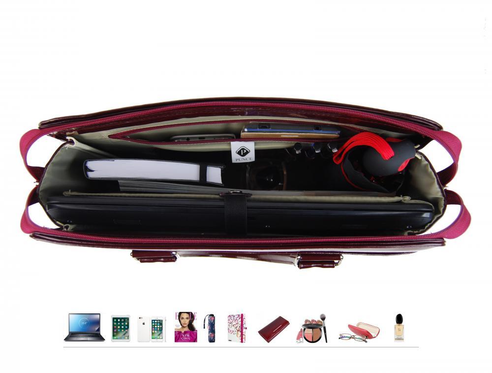 PUNCE LC-01 bordová dámska kabelka pre notebook do 15.6 palca