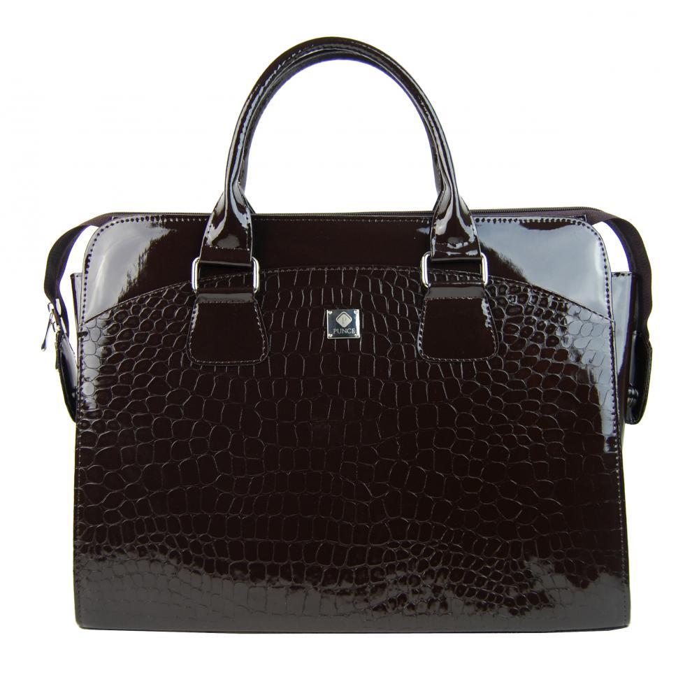 PUNCE Tmavě hnědá dámská taška na notebook do 15.6 palce