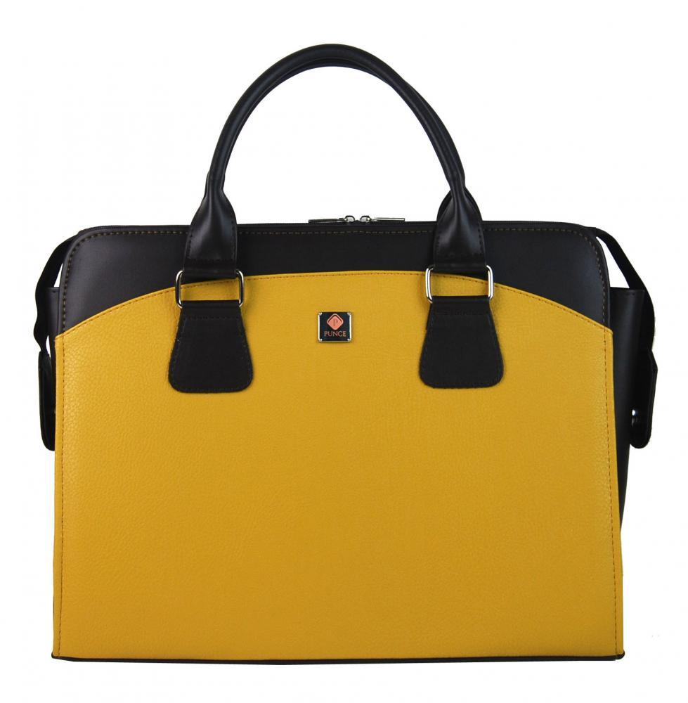 PUNCE LC-01 horčicovo žltá dámska kabelka pre notebook do 15.6 palca