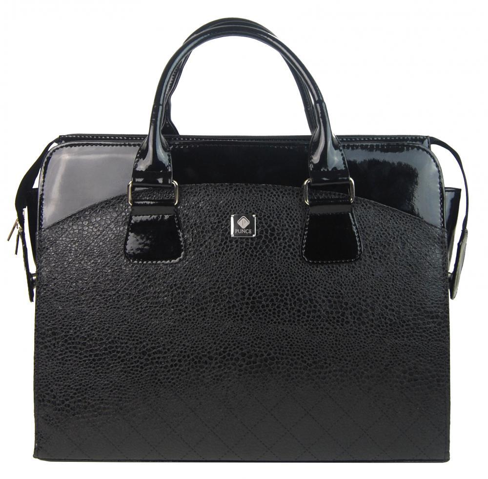 PUNCE LC-01 černá dámská kabelka pro notebook do 15.6 palce v hadí kůži
