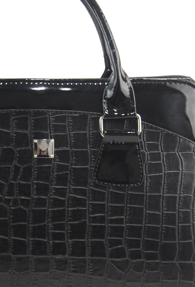 PUNCE LC-01 čierna matná/lakovaná dámska kabelka pre notebook do 15.6 palca