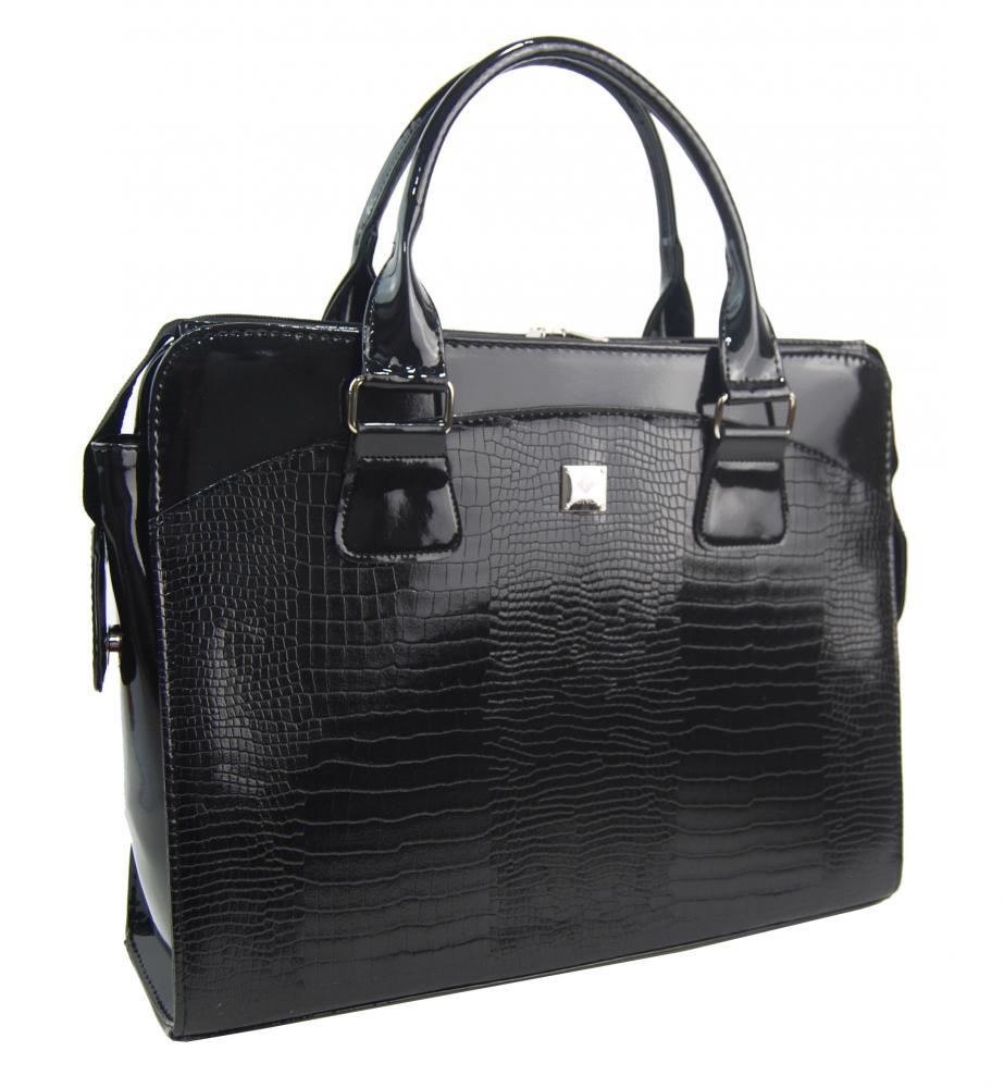 PUNCE LC-01 černá dámská kroko kabelka pro notebook do 15.6 palce