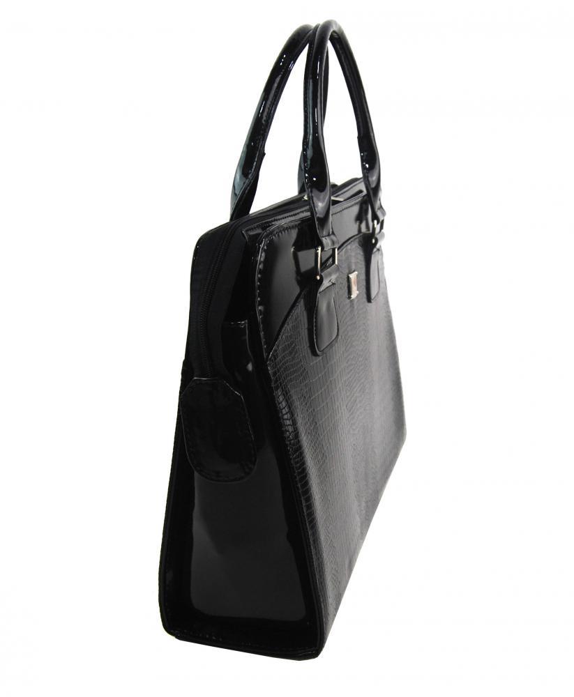 PUNCE LC-01 čierna dámska kroko kabelka pre notebook do 15.6 palca