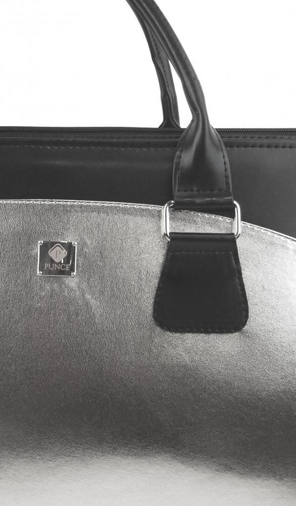 PUNCE LC-01 Stříbrná dámská kabelka pro notebook do 15.6 palce