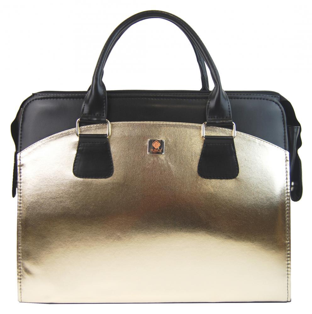 PUNCE Zlatá dámská taška na notebook do 15.6 palce